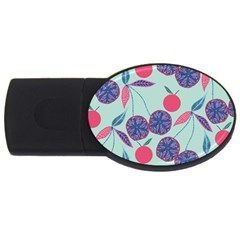 Passion Fruit Pink Purple Cerry Blue Leaf Usb Flash Drive Oval (2 Gb)