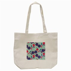 Passion Fruit Pink Purple Cerry Blue Leaf Tote Bag (cream) by Alisyart