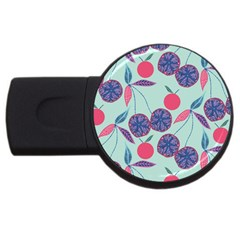 Passion Fruit Pink Purple Cerry Blue Leaf Usb Flash Drive Round (4 Gb) by Alisyart