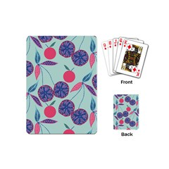Passion Fruit Pink Purple Cerry Blue Leaf Playing Cards (mini)  by Alisyart