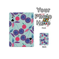 Passion Fruit Pink Purple Cerry Blue Leaf Playing Cards 54 (mini)  by Alisyart