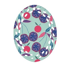 Passion Fruit Pink Purple Cerry Blue Leaf Oval Filigree Ornament (two Sides) by Alisyart