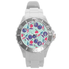 Passion Fruit Pink Purple Cerry Blue Leaf Round Plastic Sport Watch (l) by Alisyart