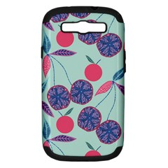 Passion Fruit Pink Purple Cerry Blue Leaf Samsung Galaxy S Iii Hardshell Case (pc+silicone)