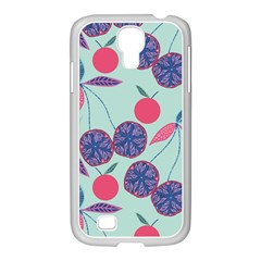 Passion Fruit Pink Purple Cerry Blue Leaf Samsung Galaxy S4 I9500/ I9505 Case (white) by Alisyart