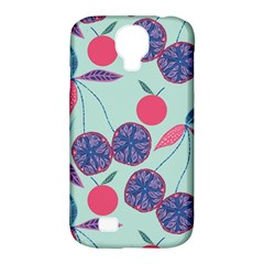Passion Fruit Pink Purple Cerry Blue Leaf Samsung Galaxy S4 Classic Hardshell Case (pc+silicone)