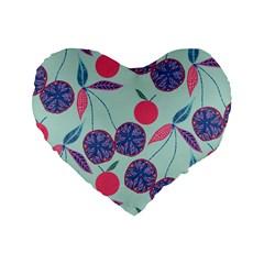 Passion Fruit Pink Purple Cerry Blue Leaf Standard 16  Premium Flano Heart Shape Cushions by Alisyart