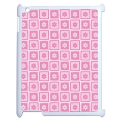 Plaid Floral Flower Pink Apple Ipad 2 Case (white) by Alisyart