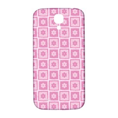 Plaid Floral Flower Pink Samsung Galaxy S4 I9500/i9505  Hardshell Back Case by Alisyart