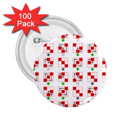Permutations Dice Plaid Red Green 2 25  Buttons (100 Pack)  by Alisyart