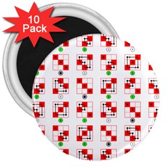 Permutations Dice Plaid Red Green 3  Magnets (10 Pack)  by Alisyart