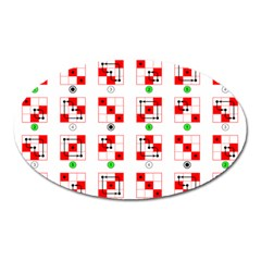 Permutations Dice Plaid Red Green Oval Magnet by Alisyart