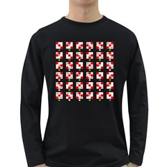 Permutations Dice Plaid Red Green Long Sleeve Dark T Shirts
