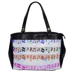 Notes Tone Music Rainbow Color Black Orange Pink Grey Office Handbags by Alisyart