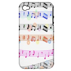 Notes Tone Music Rainbow Color Black Orange Pink Grey Apple Iphone 4/4s Hardshell Case (pc+silicone)