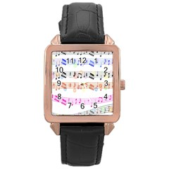Notes Tone Music Rainbow Color Black Orange Pink Grey Rose Gold Leather Watch  by Alisyart