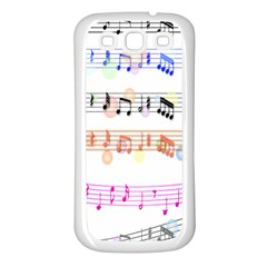 Notes Tone Music Rainbow Color Black Orange Pink Grey Samsung Galaxy S3 Back Case (white)