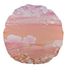 Season Flower Floral Pink Large 18  Premium Round Cushions by Alisyart