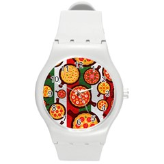 Pizza Italia Beef Flag Round Plastic Sport Watch (m) by Alisyart