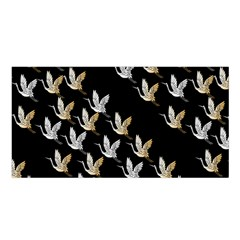 Goose Swan Gold White Black Fly Satin Shawl by Alisyart