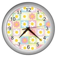 Season Flower Sunflower Blue Yellow Purple Pink Wall Clocks (silver)  by Alisyart