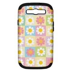 Season Flower Sunflower Blue Yellow Purple Pink Samsung Galaxy S Iii Hardshell Case (pc+silicone)
