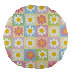 Season Flower Sunflower Blue Yellow Purple Pink Large 18  Premium Round Cushions