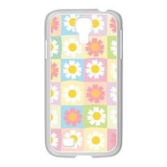 Season Flower Sunflower Blue Yellow Purple Pink Samsung Galaxy S4 I9500/ I9505 Case (white)