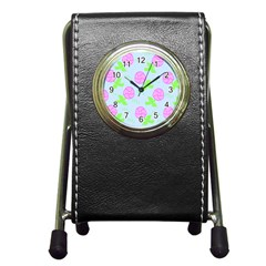 Spring Flower Tulip Floral Leaf Green Pink Pen Holder Desk Clocks by Alisyart