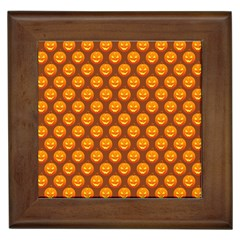 Pumpkin Face Mask Sinister Helloween Orange Framed Tiles by Alisyart