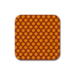 Pumpkin Face Mask Sinister Helloween Orange Rubber Square Coaster (4 Pack)  by Alisyart