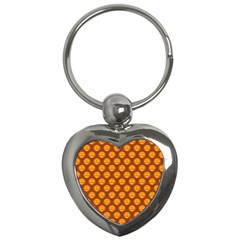 Pumpkin Face Mask Sinister Helloween Orange Key Chains (heart)  by Alisyart