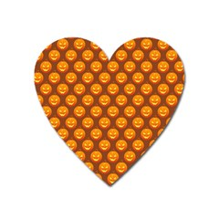 Pumpkin Face Mask Sinister Helloween Orange Heart Magnet by Alisyart