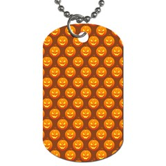 Pumpkin Face Mask Sinister Helloween Orange Dog Tag (two Sides) by Alisyart