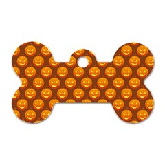 Pumpkin Face Mask Sinister Helloween Orange Dog Tag Bone (one Side) by Alisyart