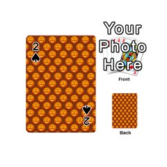Pumpkin Face Mask Sinister Helloween Orange Playing Cards 54 (mini)  by Alisyart