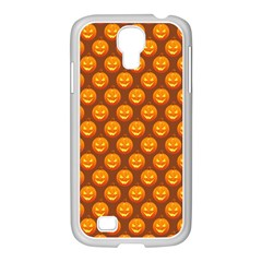 Pumpkin Face Mask Sinister Helloween Orange Samsung Galaxy S4 I9500/ I9505 Case (white) by Alisyart