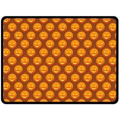 Pumpkin Face Mask Sinister Helloween Orange Double Sided Fleece Blanket (large)  by Alisyart
