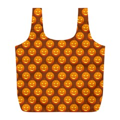 Pumpkin Face Mask Sinister Helloween Orange Full Print Recycle Bags (l)  by Alisyart