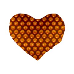 Pumpkin Face Mask Sinister Helloween Orange Standard 16  Premium Flano Heart Shape Cushions by Alisyart