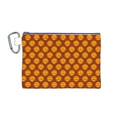 Pumpkin Face Mask Sinister Helloween Orange Canvas Cosmetic Bag (m) by Alisyart