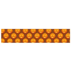 Pumpkin Face Mask Sinister Helloween Orange Flano Scarf (small) by Alisyart
