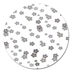 Flower Grey Jpeg Magnet 5  (round)
