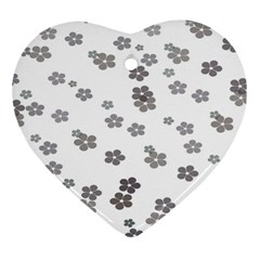 Flower Grey Jpeg Heart Ornament (two Sides) by Alisyart