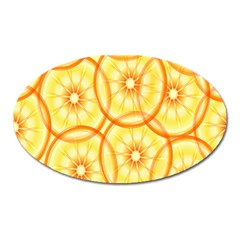 Lemons Orange Lime Circle Star Yellow Oval Magnet by Alisyart