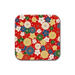 Season Flower Rose Sunflower Red Green Blue Rubber Square Coaster (4 Pack)  by Alisyart