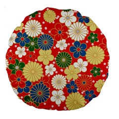 Season Flower Rose Sunflower Red Green Blue Large 18  Premium Round Cushions