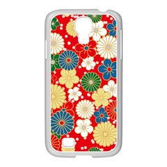Season Flower Rose Sunflower Red Green Blue Samsung Galaxy S4 I9500/ I9505 Case (white)