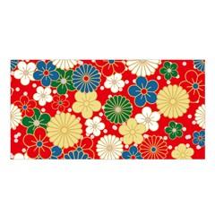 Season Flower Rose Sunflower Red Green Blue Satin Shawl by Alisyart