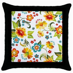 Flower Floral Rose Sunflower Leaf Color Throw Pillow Case (black) by Alisyart